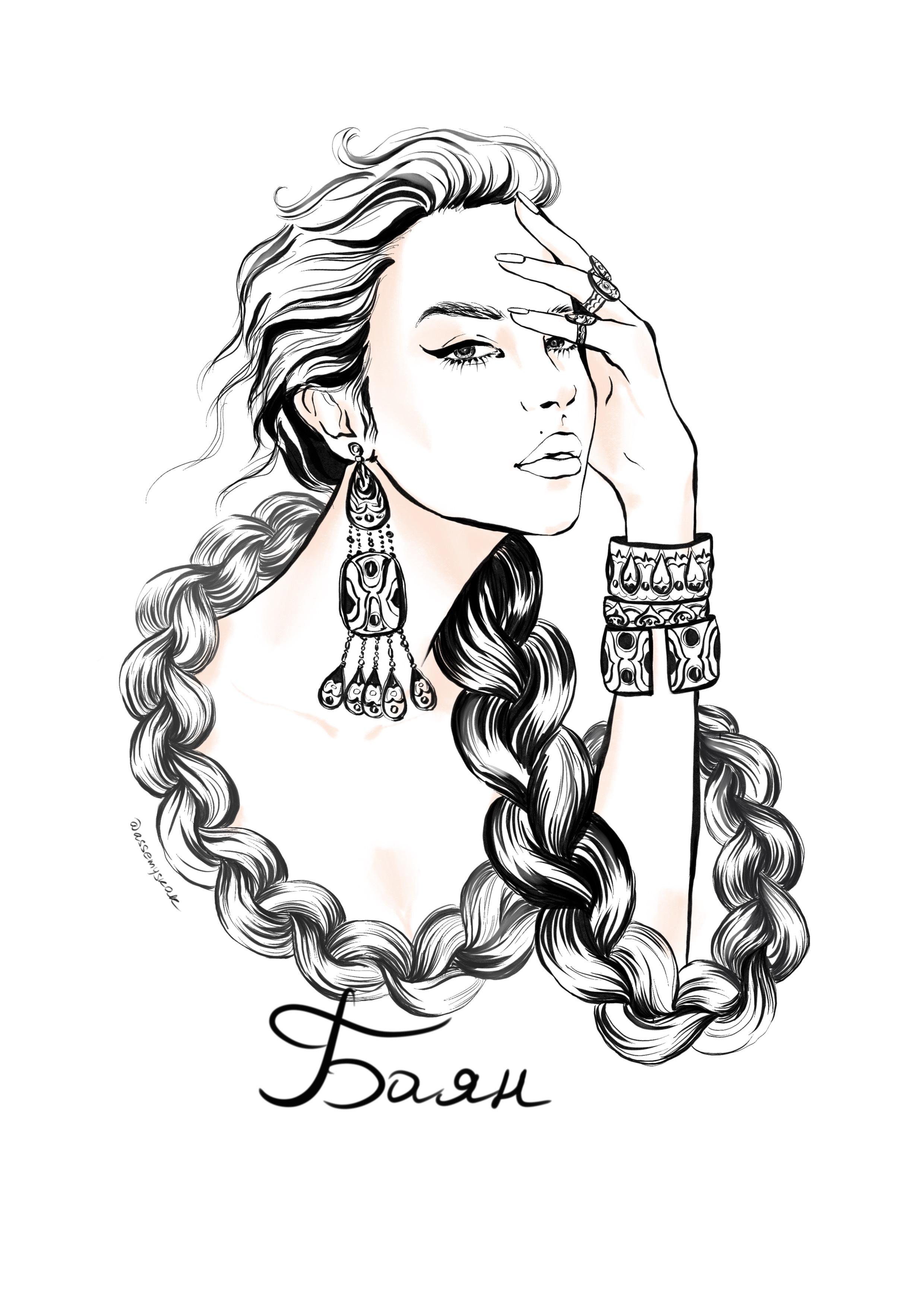 Казахская fashion-иллюстрация от Асем Ыскак