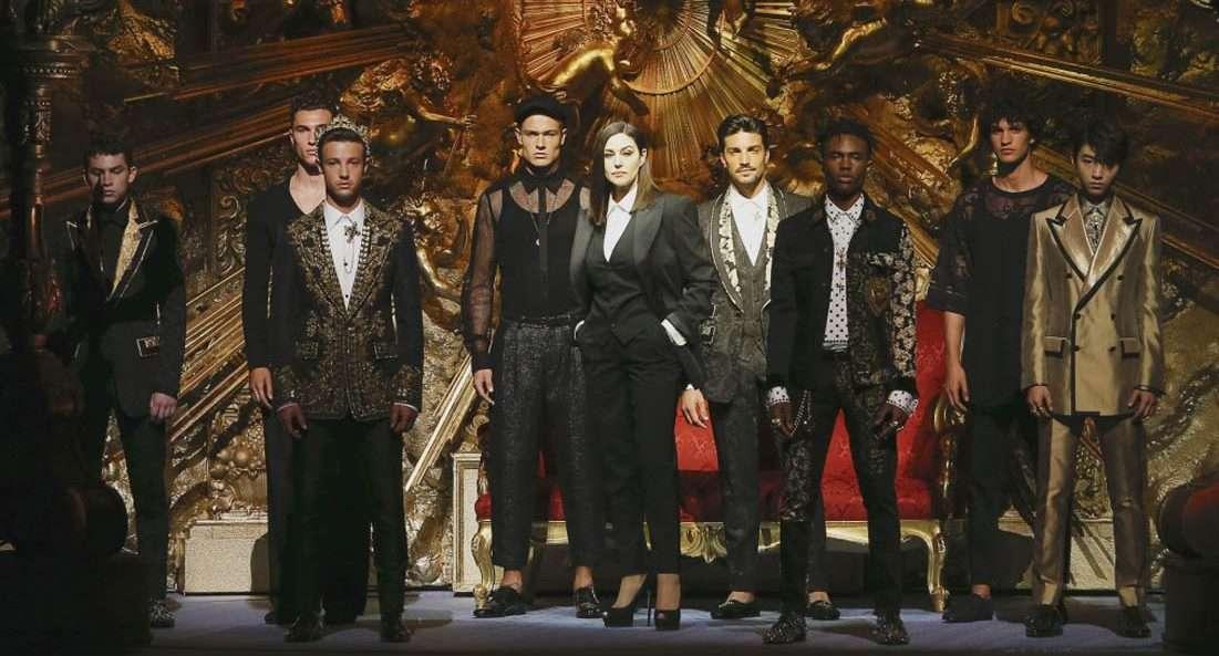 Моника Беллуччи и Наоми Кэмпбелл на мужском показе Dolce & Gabbana в Милане